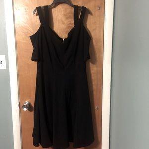 NWT Lane Bryant black cold shoulder midi dress